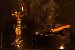 Night Smoke... (Octane Photo) Tags: blue cigar cigars smoke smoking liquor scotch