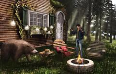 The Great Sandwich Standoff (Alex Avion (AA Photography)) Tags: camping nature bear log cabin sandwich sl second life