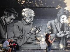 Phone addicts (Jeanne Menj) Tags: ralit reprsentation zabou streetart rueoberkampf paris phone addict addicts smartphones