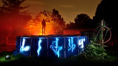 The pool (palateth) Tags: lightpainting lightart night france south blue orange pool lightspirit swimmer