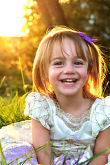 Smiling (The Moon & Back) Tags: portrait girl beautiful golden grass dress smile teeth laugh sunset children kids glow