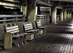 Park and Park-HBM! (It Sure Feels Like Fall, Love It!!!) Tags: benchmonday benches underground pakinglot albuquerquenm airport sunport bricks concrete