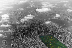 Flying over Manhattan (TheMachineStops) Tags: 2002 outdoors nyc manhattan newyorkcity centralpark selectivecolor green airplaneview flying aerial clouds vacation travel