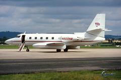 N500NM Lockheed L1329 Jetstar 2 (Gary J Morris) Tags: 26081994 egte exeter airport n500nm lockheed l1329 jetstar 2 n377sa nigel mansell 5229
