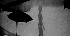 Shadow on the wall - L'ombre de la piscine (Max Sat) Tags: bw blackandwhite femme fuji fujixe1 fujinon italia italie italy maxsat maxwellsaturnin nb noiretblanc ombre parasol relaisblu shadow umbrella woman xf1855 silhouette poolphotography unexplored