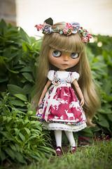 enchanted forest dirndl - denim blue (JennWrenn) Tags: blythe doll custom cherrybeachsunset handmade sewing miniatureclothesfordolls misswrenn springtime dirndl marianne