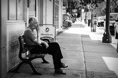 MoneyGram Man. Leamington, ON. (Pat86) Tags: photooftheday leamington streetphotography blackandwhite man smoking break bench moneygram