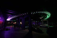 256/366 - Off the dancefloor... (Sinuh Bravo Photography) Tags: canon eos7d nightshot streetlights berlin savignyplatz green purple potd2016 ayearinphotos brigde neonlights