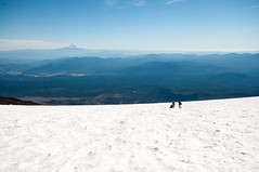 Starting down (LucienTj) Tags: view blue mounthood hiking mountains mountadams glacier hills summit vista snow