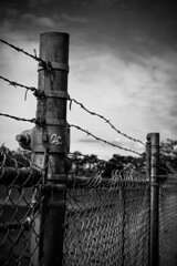 Summit Park, Victoria BC (michael_riches) Tags: blackandwhite monochrome industrial chainlink barbedwire wire metal canon750d