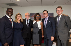 CNN's Eugene Scott, Brianna Keilar, Wolf Blitzer, Juana Summers and Chris Moody with Newseum CEO Jeffrey Herbst prior to the panel.