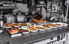 Home-style Filipino Cuisine (FotoGrazio) Tags: internationalfood friedfood foodtogo waynesgrazio cebu restaurant bored lumpia friedchicken selectivecolor potsandpans philippines adobo filipina smallbusiness dishes filipinocuisine food candidshot documentaryphotography waynegrazio fotograzio woman streetphotography pinoy waiting hotfood tired lifeinthephilippines streetfood