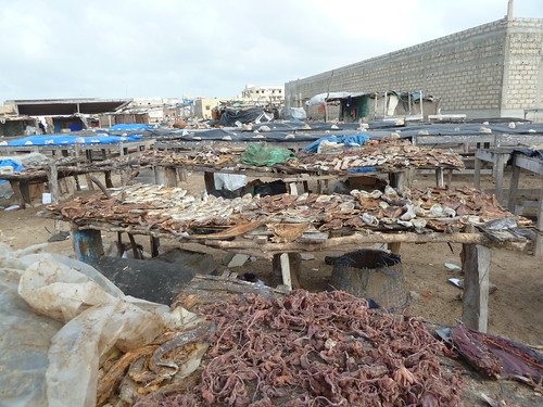 Fish drying and smoking on the processing site in Yoff, Dakar district, Senegal. Photo by Anne Delaporte, 2011