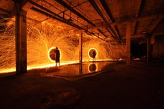 Double Steel Wool (xbrucexx) Tags: light wool night painting long exposure steel flash tripod gelled