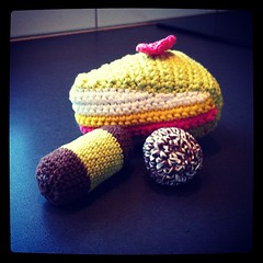 """Time for the swedish """"fika""""! (TinaOo) Tags: cookies cake square bakery squareformat amigurumi fika virkning tårta dammsugare kakor chokladboll crochetwork punchrulle iphoneography instagramapp xproii uploaded:by=instagram"""