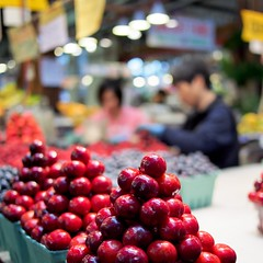 Cherry Cherry Boom Boom (bOw_phOto) Tags: vancouver lumix cherries bc market olympus panasonic pancake 20mm granvilleisland omd f17 em5