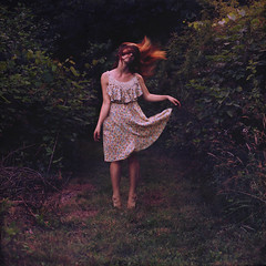 farmer's daughter, sleepwalker. 12/52 (shelby gill) Tags: red portrait motion me grass self hair square movement long dress wind farmers earth character hill daughter surreal shelby ann lone format weeks bushes connection 52 connecting expansion selfie farmersdaughter shelbyann phlearnbattle