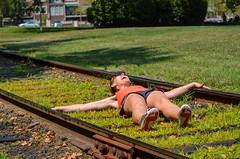 Old timey damsel in distress (m01229) Tags: railroad traintracks melissa oldtownalexandria railroadtracks