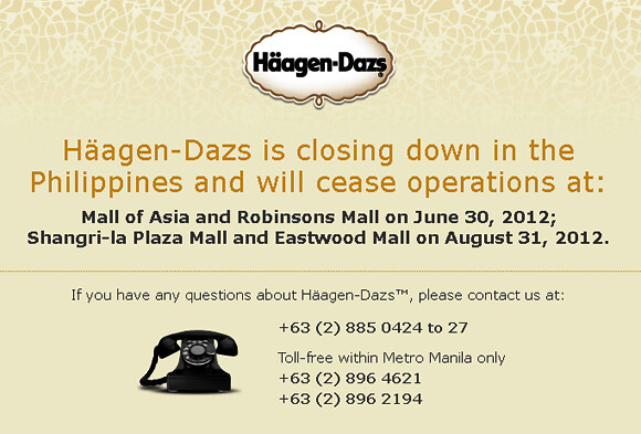 Haagen-Dazs is closing down in the Philippines