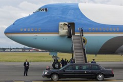 """The Beast"" moves into position (Tomlin's Images) Tags: boston unitedstatesofamerica cadillac airforceone boeing airforce runway obama limousine 747 secretservice bostonloganairport thebeast generalmotors afo vc25 28000"