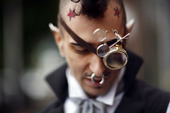 ([ raymond ]) Tags: red portrait fashion stars nose bokeh piercing tattoos ring steampunk gerrold geroldvincent