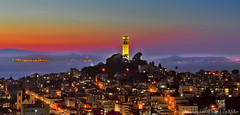 San Francisco Beacon (philipleemiller) Tags: california sunset cityscapes coittower northbeach sanfranciscobay telegraphhill angelisland shining d7000