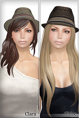 "New Arrival - ""Clara"" and ""Chloe"" (ARGRACE) Tags: men fashion hair women sl secondlife fedora strawhat argrace"
