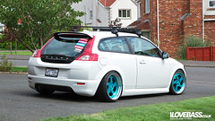 Now on Rotiforms (Adam McPeake) Tags: white car volvo lowered slammed stance roofrack c30 volvoc30 stanced rotiform ilovebass candyteal rotiformtmb