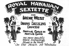 Ad: Royal Hawaiian Sextette & Irene West (UH Manoa Library) Tags: history hawaii newspaper hula ad advertisement hawaiian historical universityofhawaii microfilm hamiltonlibrary chroniclingamerica ndnp irenewest