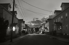 Summer Dusk (frntprchprss) Tags: street blackandwhite ma lights dusk neighborhood easthampton