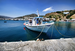 Tethered beauty (n.pantazis) Tags: blue sea boat wideangle greece fishingboat tethered andros tether pentaxkx ormos aegeansea korthi korthibay ormoskorthiou korthion