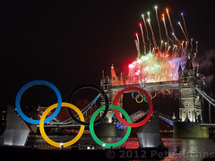 EM5D6692 TwrBrdgFireworks (pete riches) Tags: uk london thames towerbridge fireworks olympics lightshow barge olympicrings london2012olympics olympicopeningceremony