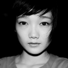 Harsh Flash (Jonathan Kos-Read) Tags: china blackandwhite bw beautiful eyes beijing hotasiangirl hotchinesegirl