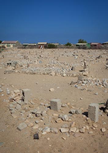 Muslim Graves Pile Of White Stones In Berbera Area Somaliland