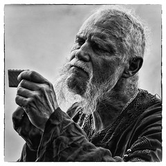 The commander ordered to shave (Pavel Lunkin) Tags: show park portrait people blackandwhite bw man black history festival square nikon russia moscow medieval squareformat flickraward artlegacy