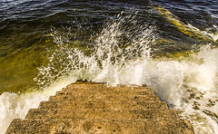 Splashing Around (Brian Travelling) Tags: water scotland pentax outdoor staircase splash gourock pentaxdal pentaxkr