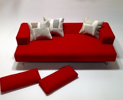 Removable back cushions to change up the look. (JayCatt2220-ONESIXFURNITURE) Tags: dollhouse monsterhigh barbie furnituredesign diorama 16scale sixthscale modernminiature modernfurniture redcouch redsofa