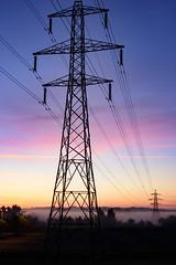 The Power (8of 365) (Reckless Times) Tags: power lines cable oxford kidlington mist fog foggy morning sunrise dusk purple sky nikon 750 nikond750