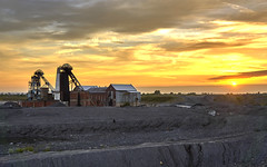 Sunset over Hatfield Main Colliery. (Michael's pics... (The Amateur Wanderer)) Tags: hafield main colliery headstock tower winder winding power house sun set yorkshire south doncaster stainforth pit coal ncb british