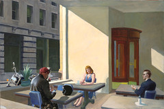 Socialising....or maybe not (whosoever1) Tags: edwardhopper sunlightinacafeteria sunlight sunshine cafe cafeteria man woman biker motorbike painting artist art honda vtx1300 shadow 1958 america