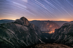 A Night Hike up the Half Dome Cables Wide (geekyrocketguy) Tags: halfdome yosemite nationalpark curry village curryvillage mirror lake stars star trails night longexposure