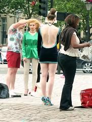 Trafalgar Square Photoshoot (Waterford_Man) Tags: photoshoot costumes girls london street people path candid bare dress legs