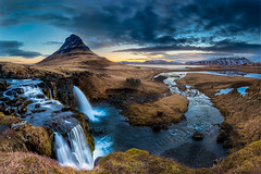 Iceland landscape - Sunrise at  Mt. Kirkjufell (Kanonsky) Tags: beautiful cloud cold europe grass iceland kirkjufell kirkjufellsfoss lake landmark landscape morning mountain nature reflection river rock sky spring sunrise travel volcanic water waterfall