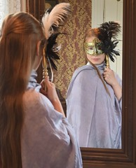 Faceless girl in the mirror (ToveMetteLind1) Tags: photo picture image girl mask reflection faceless mysterious mirror indoor session photosession location brusve young