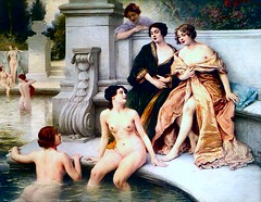 Jules Scalbert (1851-1928) - Le Bain (date not found) custom colorized version (ketrin1407) Tags: julesscalbert scalbert lebain thebath bathers painting nude naked sensual erotic bath bathing undressing colorized colorization upscaling waifu2x