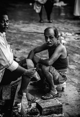 ||Barber|| (SouvikMetiaPhotography) Tags: people portrait street streetphotography barber sitting looking watching kolkata asia documentary dailylife blackandwhite monochrome flickr morning