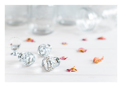 272/366: With glass knobs on... (judi may) Tags: 366the2016edition 3662016 day272366 28sep16 white whitebackground glass jars glassknobs rosepetals photoborder canon7d 50mm dof depthoffield bokeh stilllife tabletopphotography highkey