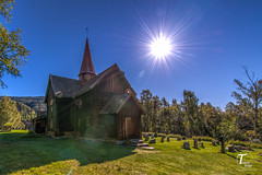 Tor Magnus Anfinsen-000163 (Tor Magnus Anfinsen) Tags: rollag stave church numedalslgen apse gallery norge norway hdr green blue graveyard trees tree nikon