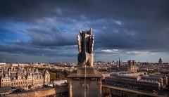 Watching my city (vy.photographe) Tags: paris toitdeparis toursaintjacques gargouille crpuscule sunshine ciel grandangle ville paysage