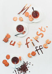 Coffee first (Dina Belenko) Tags: coffee tea teatime food drink cookie biscuit buttercookie cracker snack sweet break enjoy stilllife breakfast morning light pastry baking highangle fromabove topview flatlay text lettering inscription letter motto white pattern curve geometry coffeebeans rye oatmeal variety splash motion action hightspeed drop inspiration motivation chocolatestick waferstraw khabarovsk khabarovskterritory russia